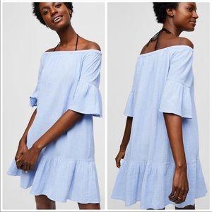 LOFT Beach Gauzy Blue Off Shoulder Mini Dress